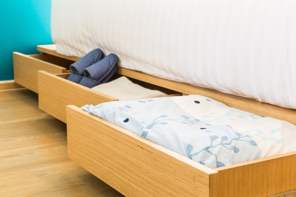 drawers under the bed could help you organise your stuff easier.