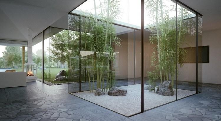 taman indoor dengan atap terbuka