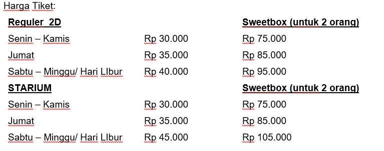 Tarif tiket CGV Vivo Sentul Bogor